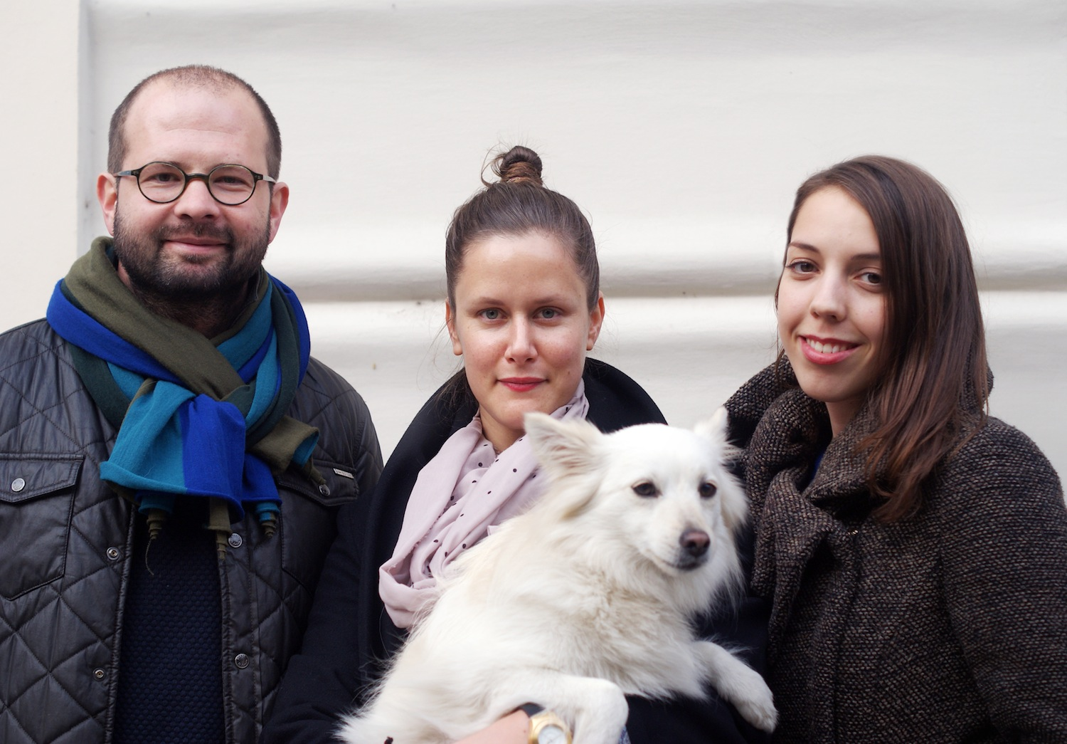 From left: Jan, Martina, their dog Belinka who is shy but loves restaurants, and Terezka