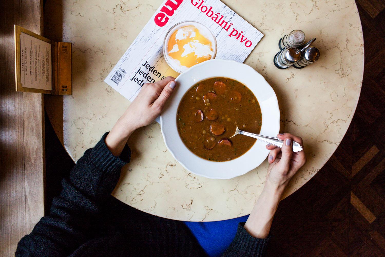 Lentil soup in Prague