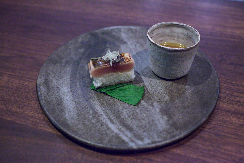 sawarazushi, wasabi, ginger paired with shimaoka shush, izumi, yamahai junmai
