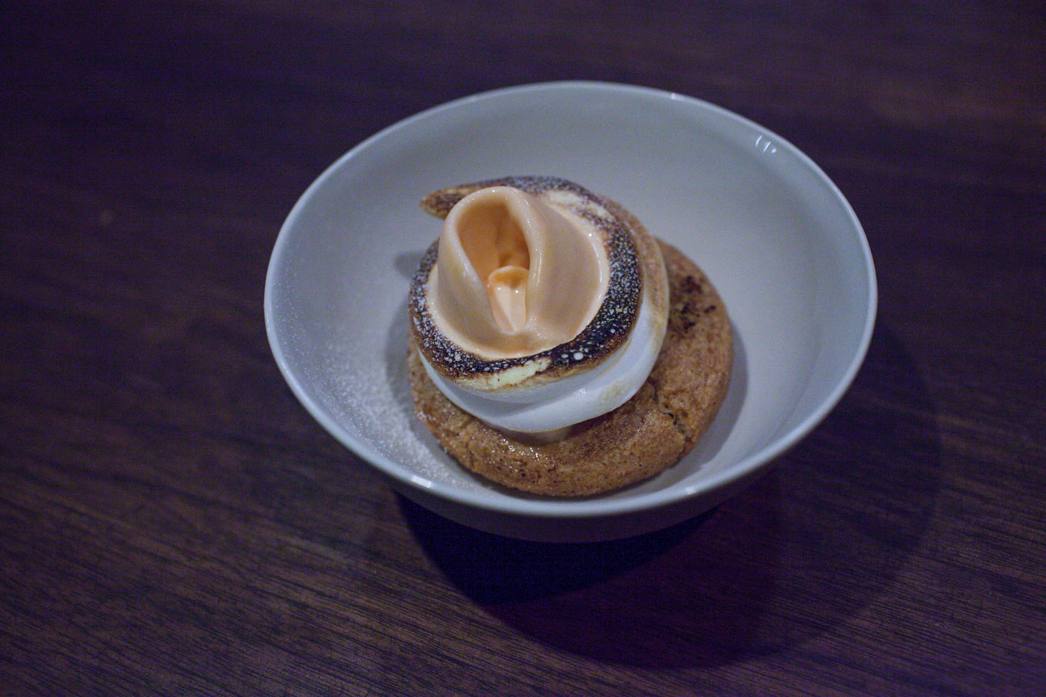 """carrot cardamon cake with merengue, paired with cider from cidrerie du vulcan """"poiré doux"""" from fribourg, switzerland 2013"""