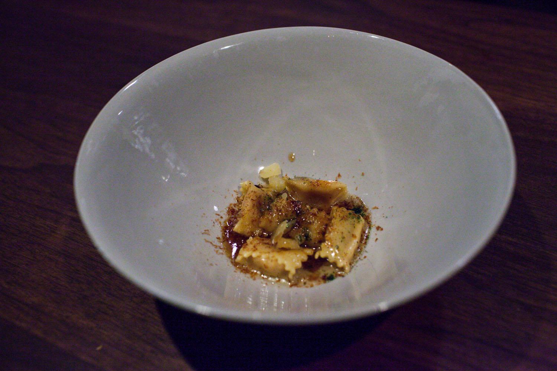 """kabocha, aigre-doux, parmesan, paired with domaine du pélican """"trois cépages"""", jura, france 2013"""