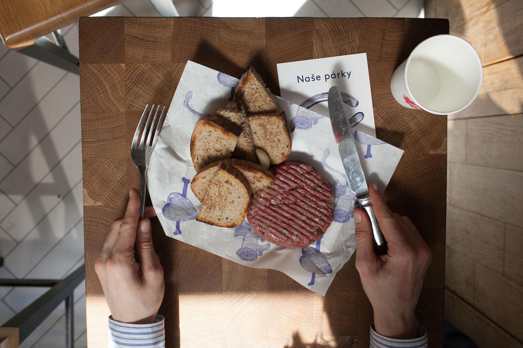 Beef steak tartare in Prague