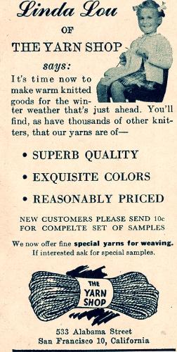 Yarn and knitting ad