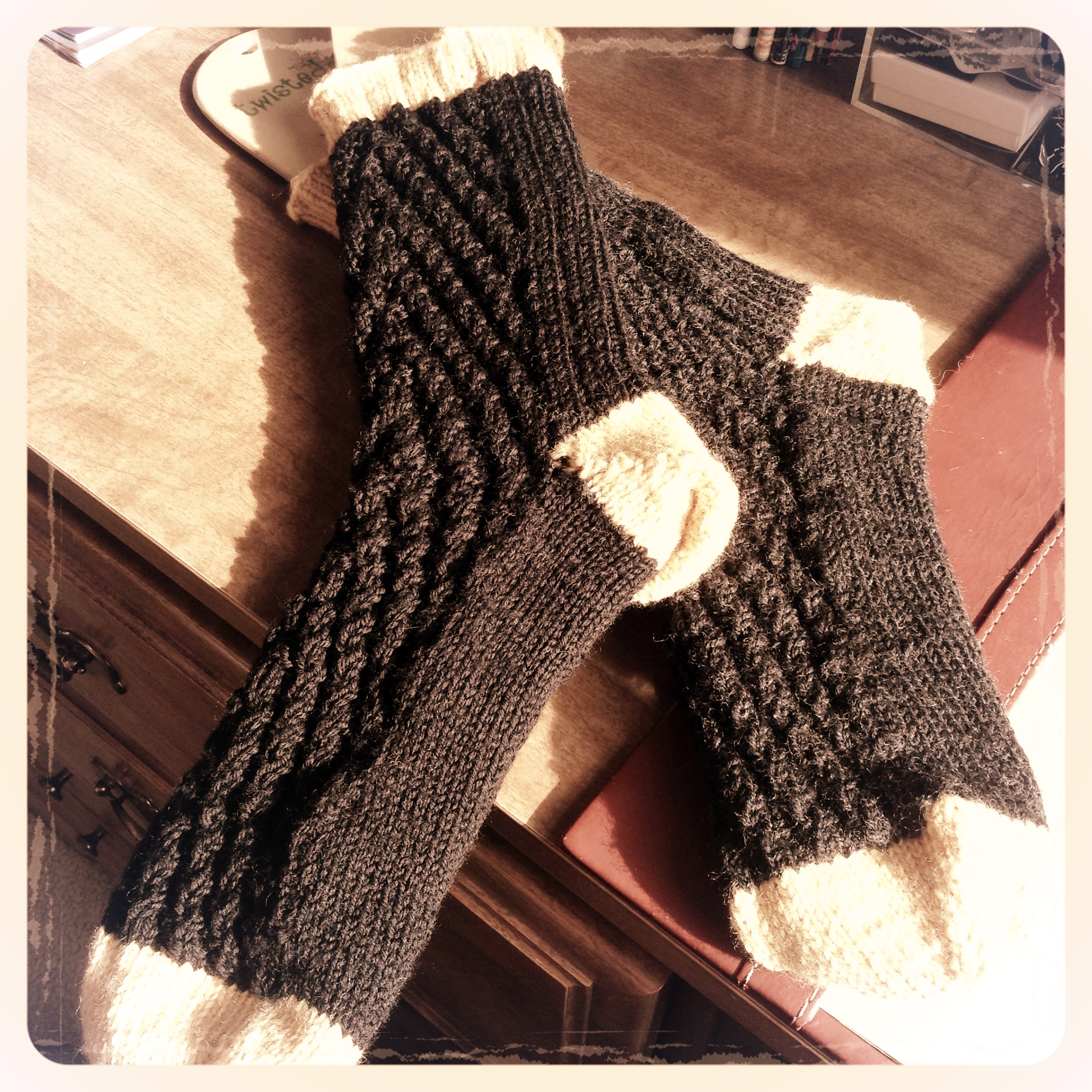 Knitted socks with texture