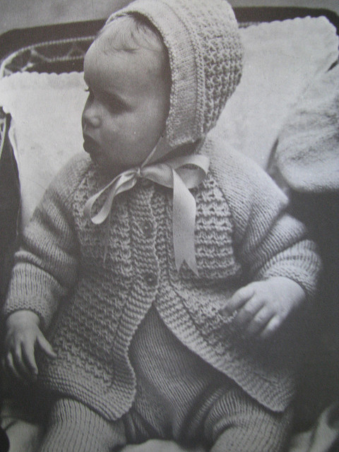 Handknit baby sweater and hat