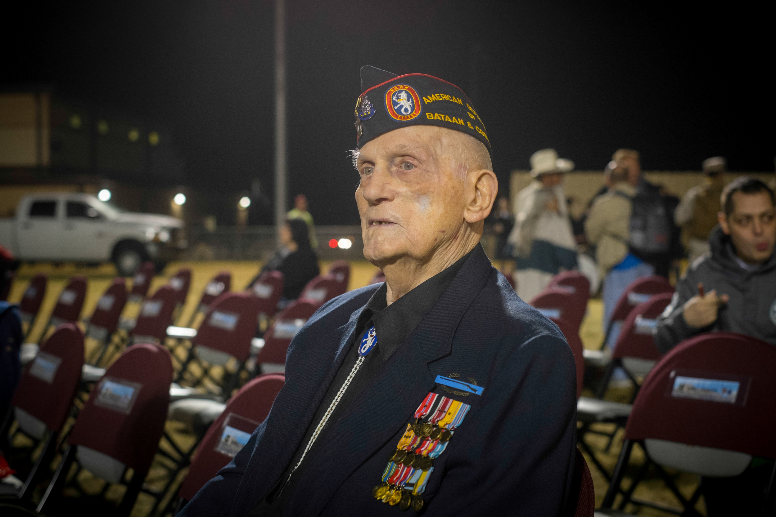 93-year-old Private First Class William L. Eldridge, survivor of the Bataan Death March in World War 2, waits for the opening ceremonies to start at the 26th Bataan Memorial Death March at White Sands Missile Range in New Mexico.