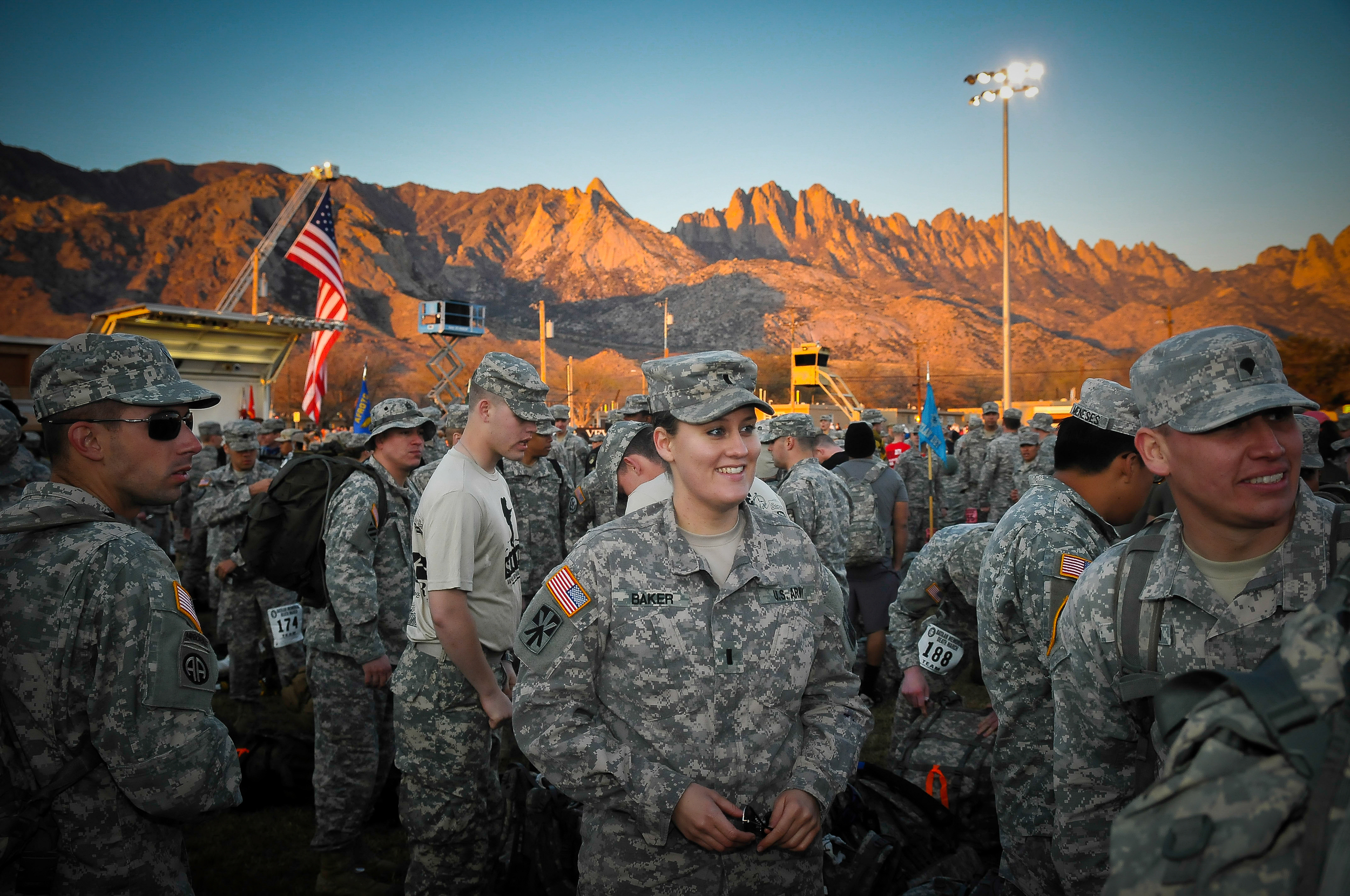 Participants at the 26th Bataan Memorial Death March on Sunday, March 22nd, 2015, at the White Sands Missile Range in New Mexico wait in a staging area to start the 26.2-mile race.