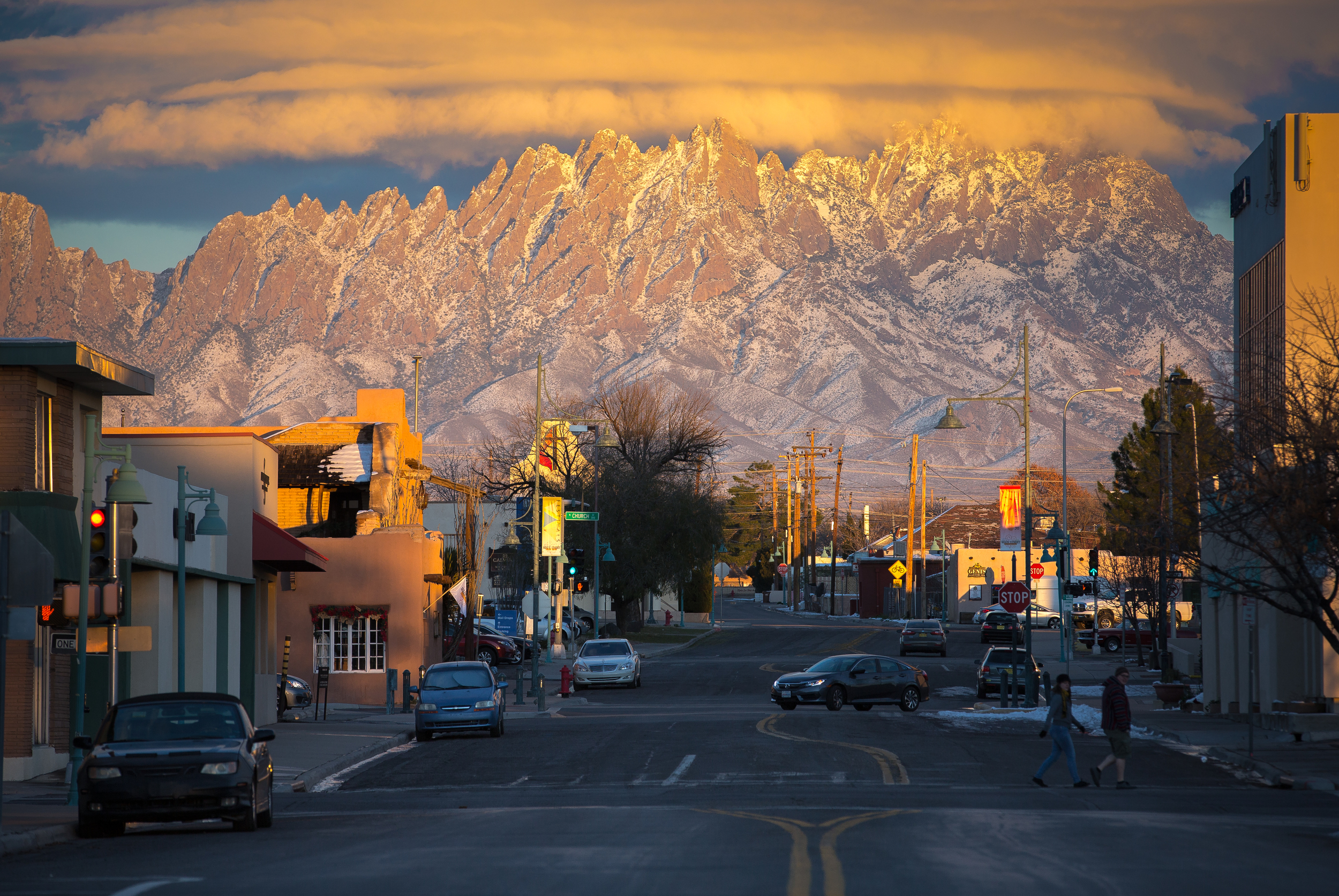 Evening light illuminates the Organ Mountains in Las Cruces, New Mexico.