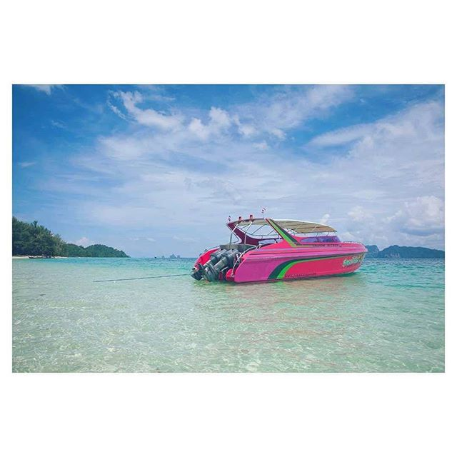 When Miami Vice was still a thing . . . #boat #beach #travels #vacation #thailand #thai #ocean #turquoise #blue #clouds #asia #kohlanta #andaman #sky #latergram #2014 #wanderlust #tourist #instagood #pink #speedboat #outdoors #jet