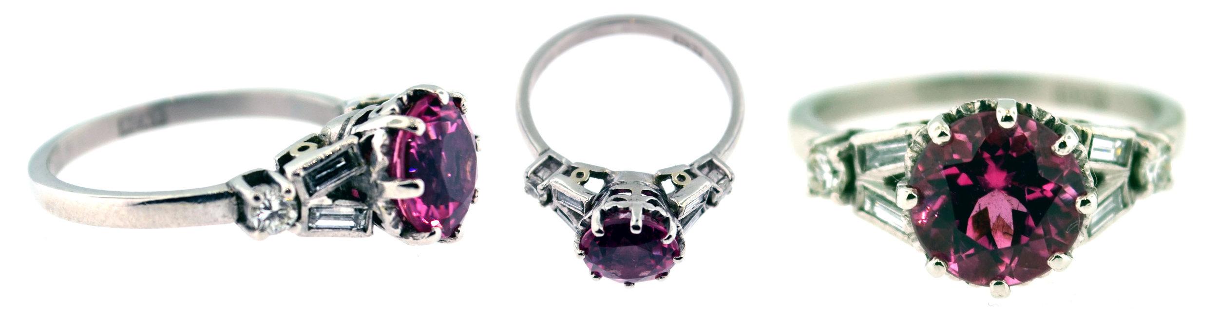 R3854, a platinum mounting, set with 0.25 carats of round and baguette-cut diamonds, and a 1.93 carat pink tourmaline center. Art Deco, circa 1930s.