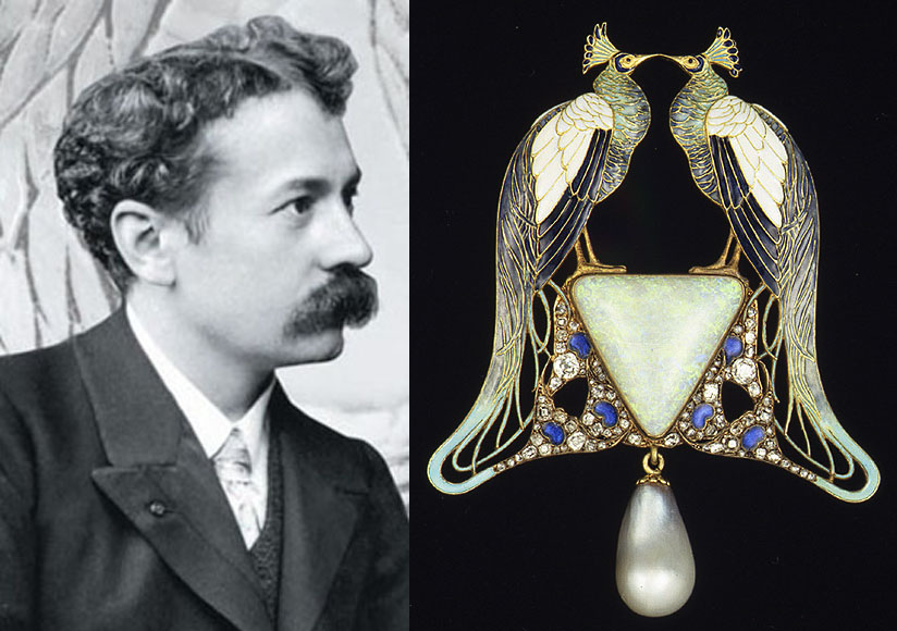 Left: Photograph of René Lalique c. 1890's.    Right: Rene Lalique's Peacock Pendant, 1901. Gold, pliqué a jour enamel, opal, pearl, diamonds