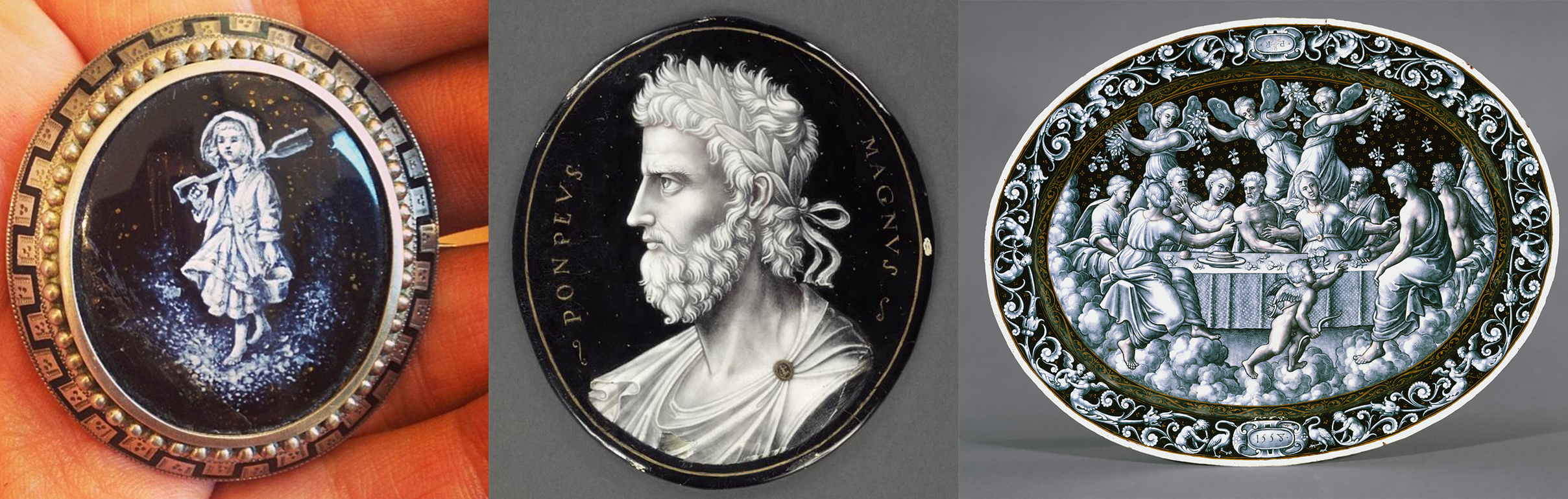 Left: A sterling silver enameled brooch with a grisaille enameled center, c. 1830 currently for sale at Victoriana. Middle: A grisaille enamel metal of Penicaud John II (16th century) louvre. Right: A grisaille silver plate by Pierre Courteys c. 16th century.