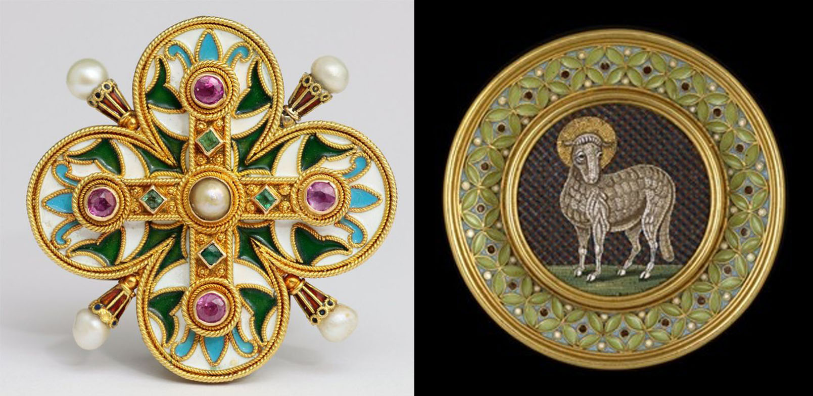 Left: A bloomed gold brooch, with cannetille wire cloisonne enameling, emeralds, pink sapphires and natural pearls, c. 1862 by Castellani Right: A bloomed gold pendant, with a cloisonne boarder framing a micro-mosaic of the Lamb of God in the center, c. 1860 by Castellani