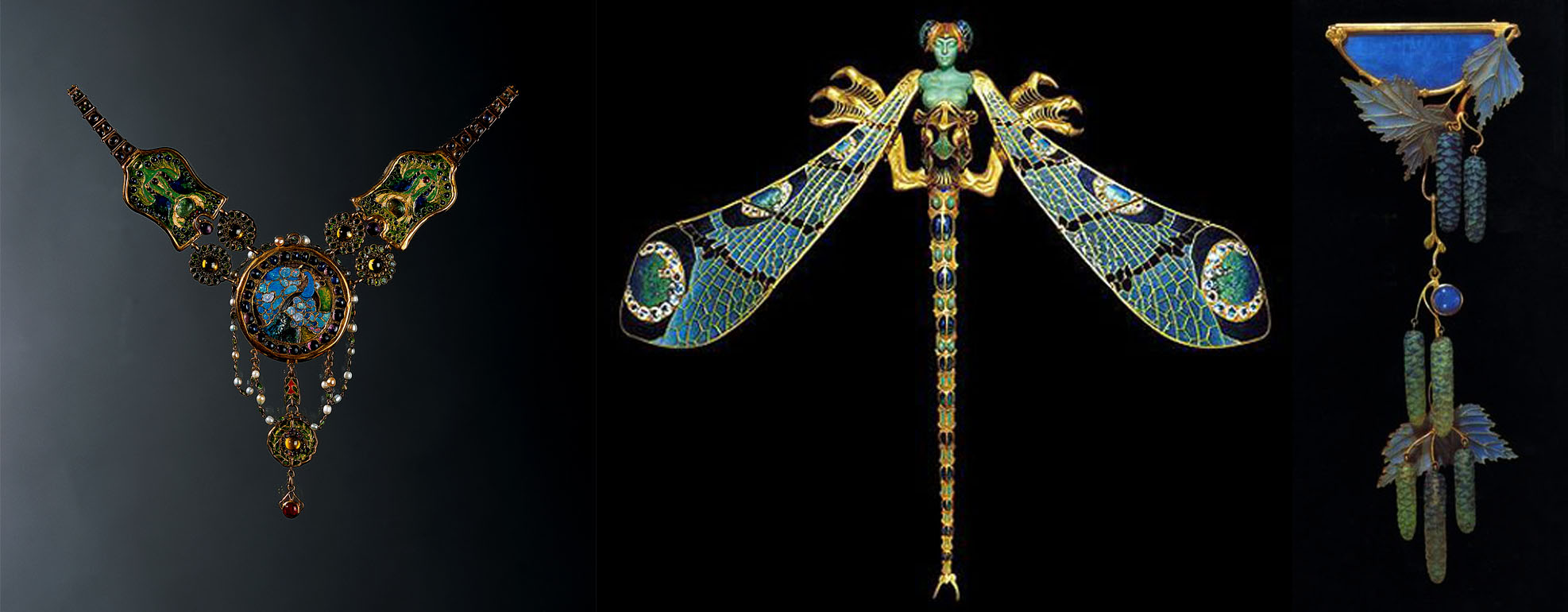 "Left: The Peacock Necklace, 18 karat gold, enameling (both cloisonne and pliqué a jour,) opal, amethyst, ruby, sapphire, demantoid garnet, emerald, chrysoberyl, and pearl. c 1903-06 by Tiffany & Co. Center: ""Dragonfly Lady"" corsage ornament made of 18 karat gold, pliqué a jour enamel, chrysoprase, moonstones, and diamonds, designed by René Lalique, c. 1903 Right: corsage ornament 'Willow Catkins' made of 18 karat gold, pliqué a jour enameling, limoge enameling, and opals c. 1904 - by René Lalique"