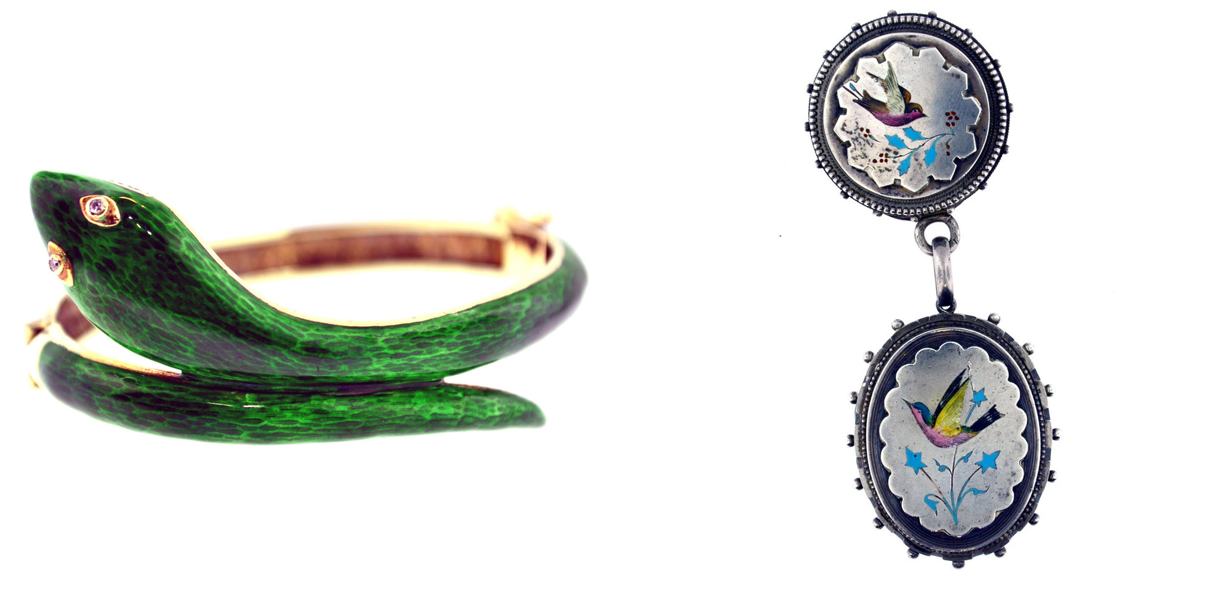 "Left: A 14 karat yellow gold serpent bangle with diamond eyes, and basse taille green enameled skin, c. 1900 Available at Victoriana Antique and Fine Jewelry. Right: A sterling silver locket and pin-receiver set with a style of limoge enameling known as champlevé (meaning ""raised plane"" in french) c. 1880 Also available at Victoriana Antique & Fine Jewelry."
