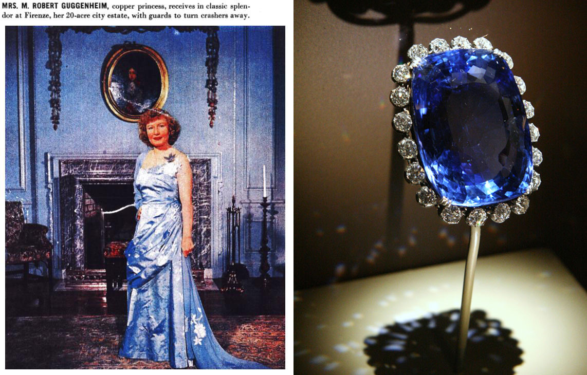 Left: Polly Logan when she was still Mrs. Guggenheim, pictured in a 1950 tour of her home during a party and publicity spread about her estate Firenze. Right: The Logan sapphire on display at the Smithsonian in Washington D.C.