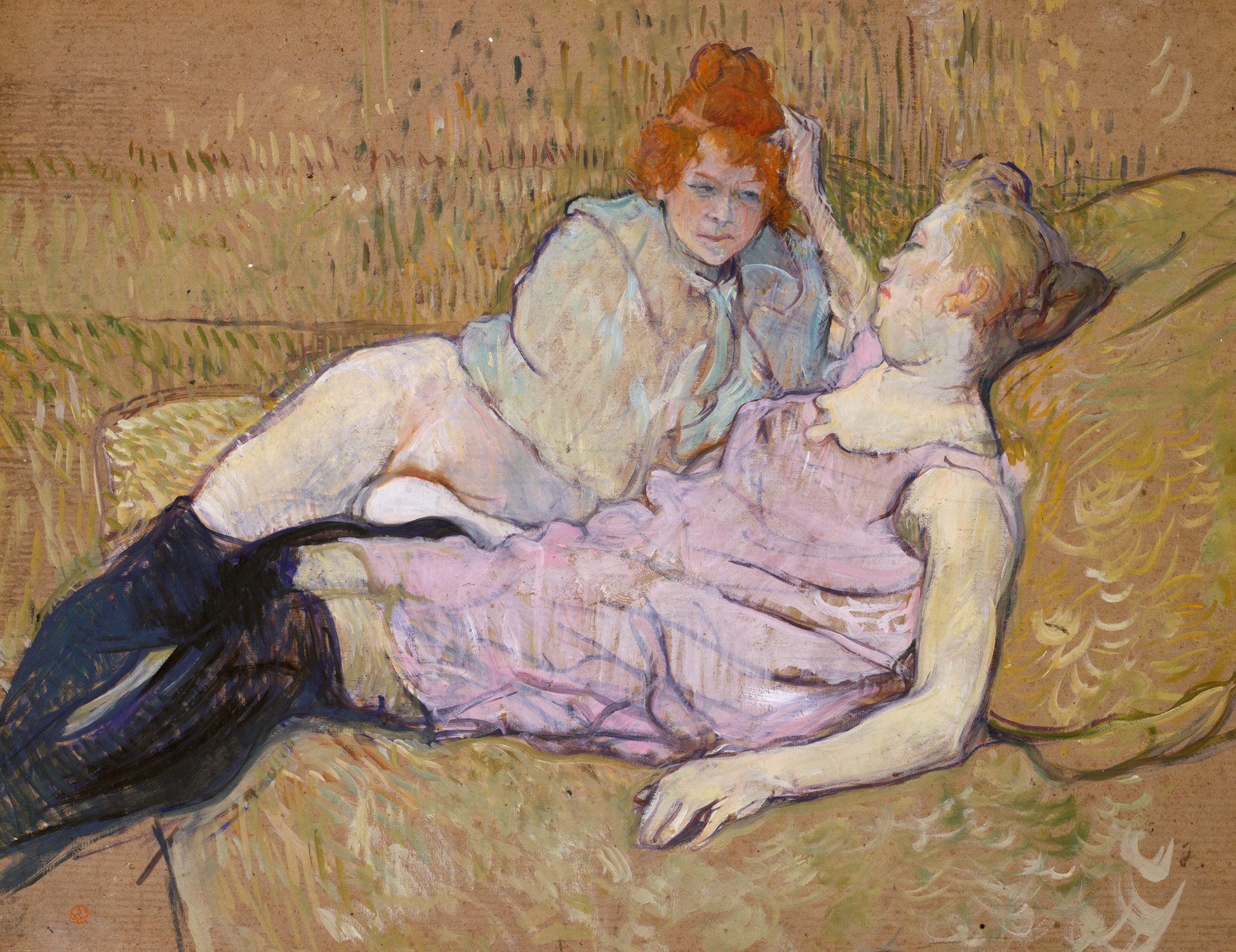 The Sofa , Oil on Cardboard, 1895, 63 x 81 cm, by Henri de Toulouse-Lautrec