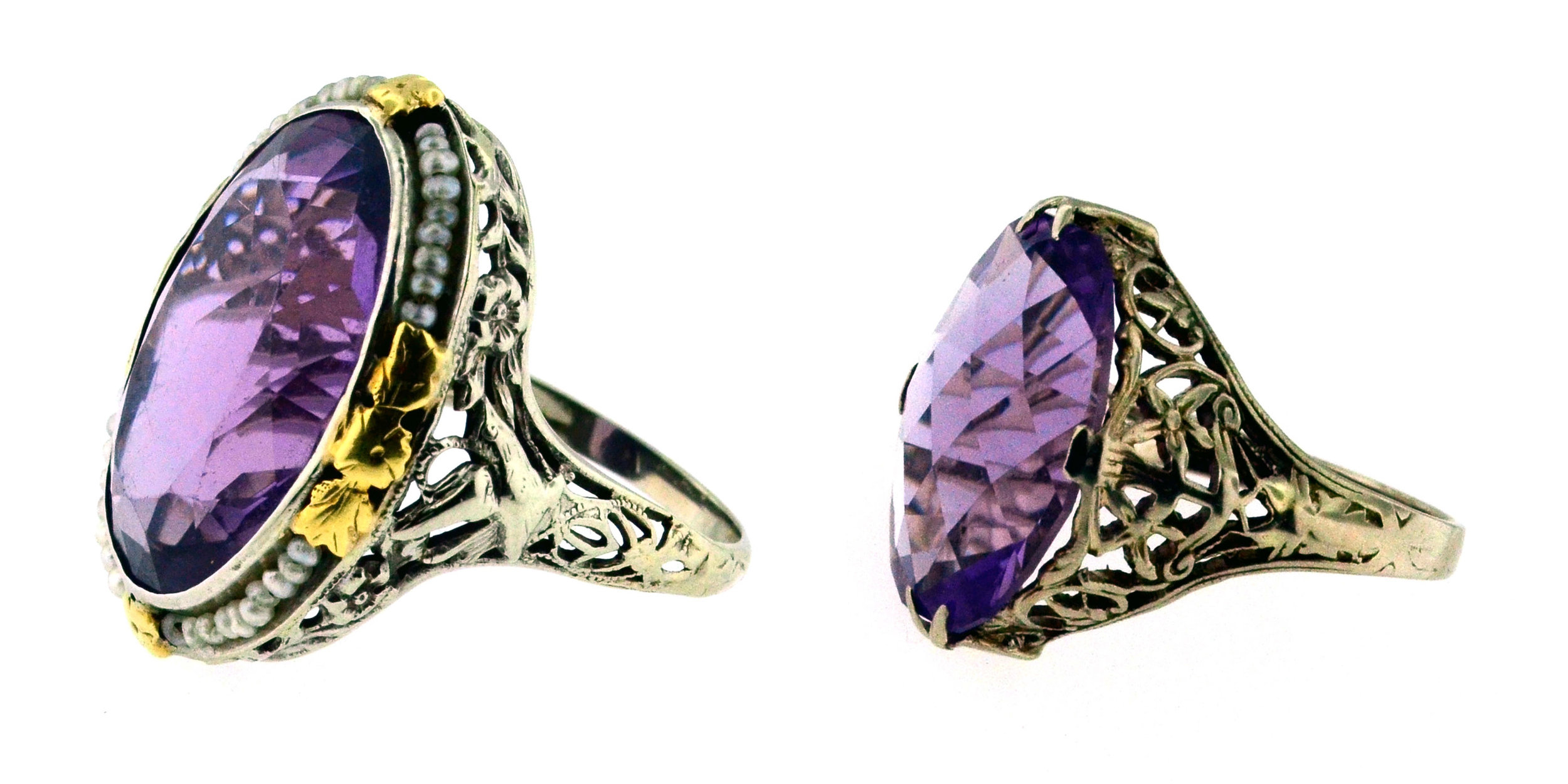 Left: A gorgeous white and yellow gold filigree dinner ring from the late teens, set with an oval amethysts and surrounded with a strand of seed pearls. Right: A 1920's white gold and amethyst filigree dinner ring.