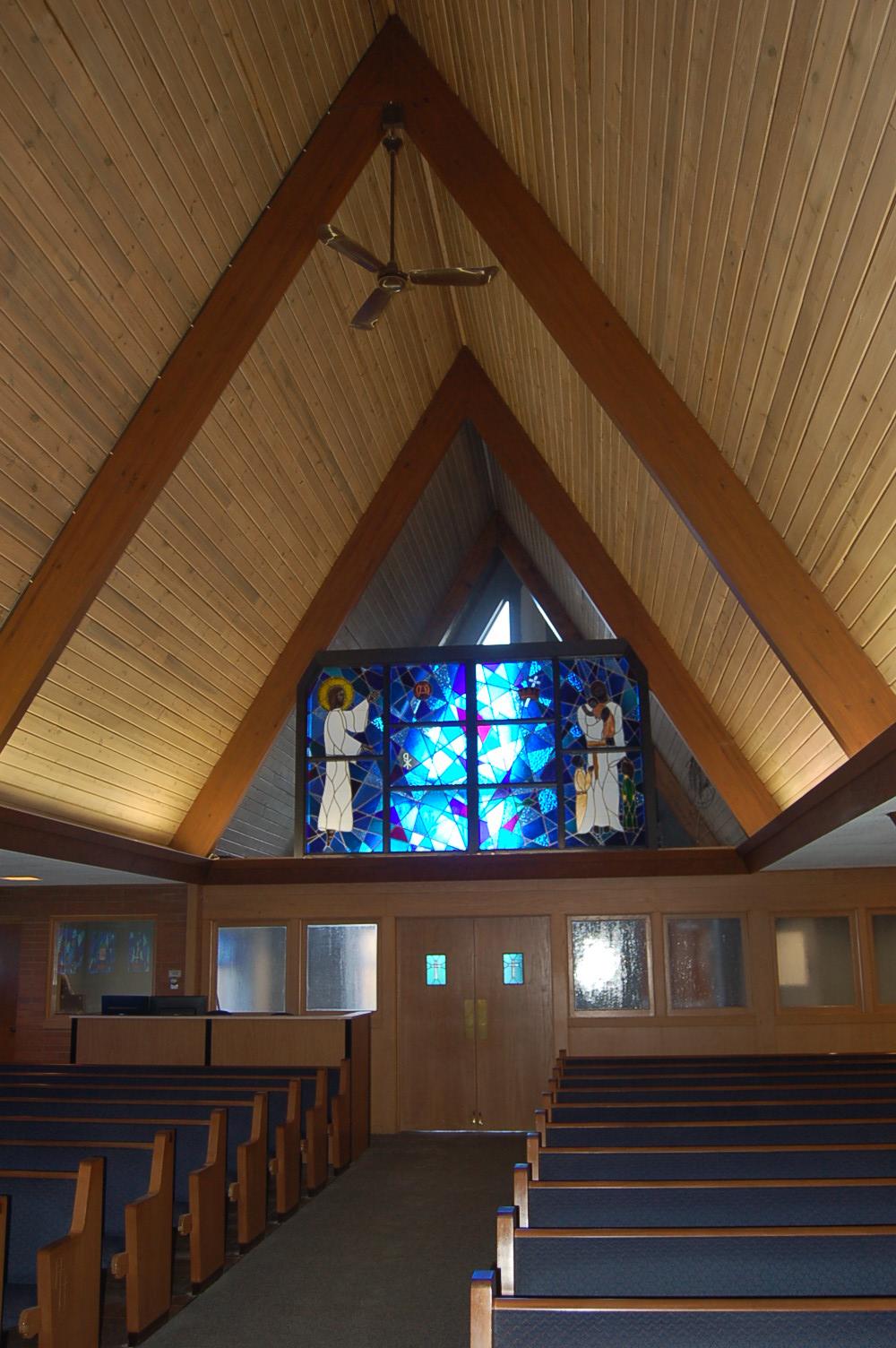 North Sewickley Presbyterian Church (stained glass interior)