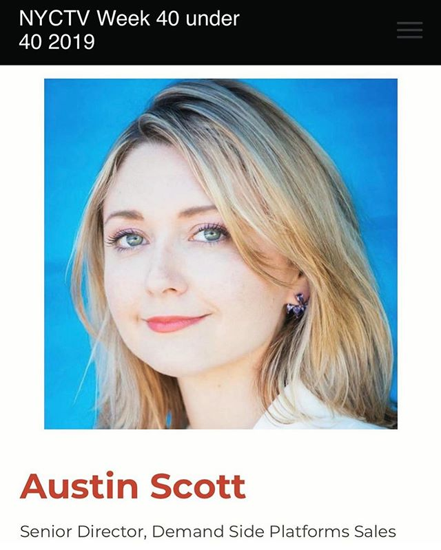 Congratulations to @hiraethmedia co-founder @austinscottcolin on being named #nyctvweek 40 Under 40! #girlboss #programmaticadvertising #40under40
