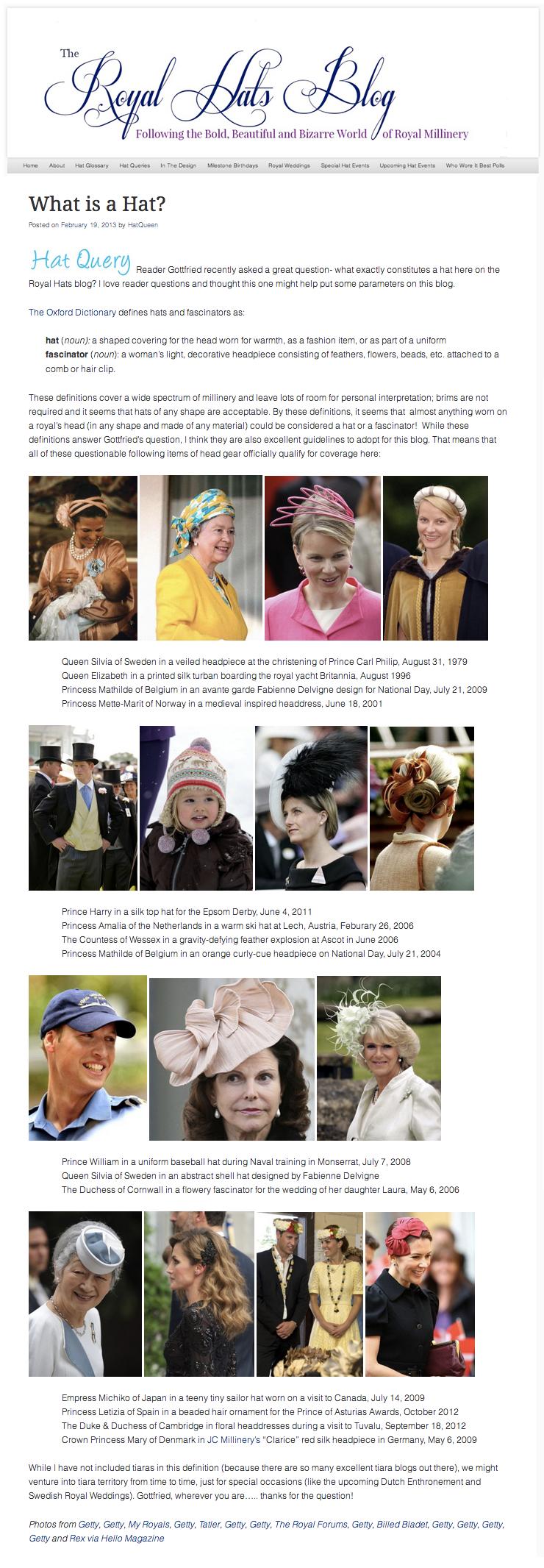 The Royal Hats Blog  / February 2013