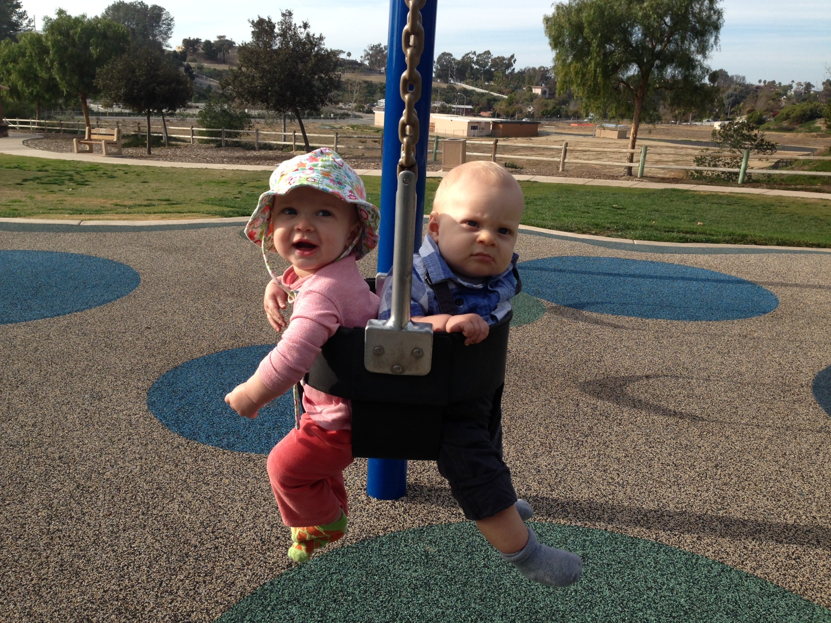 My daughter Tabitha and Lynnie's son Holden chillin' at the park.