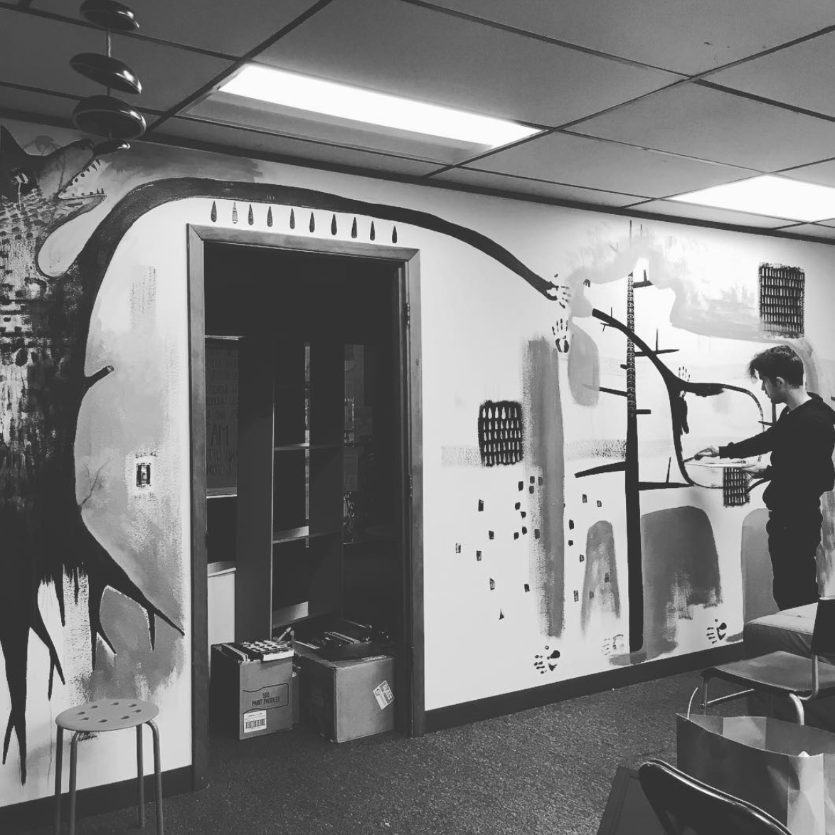 Jesse's mural at Marrow, in its early stages.