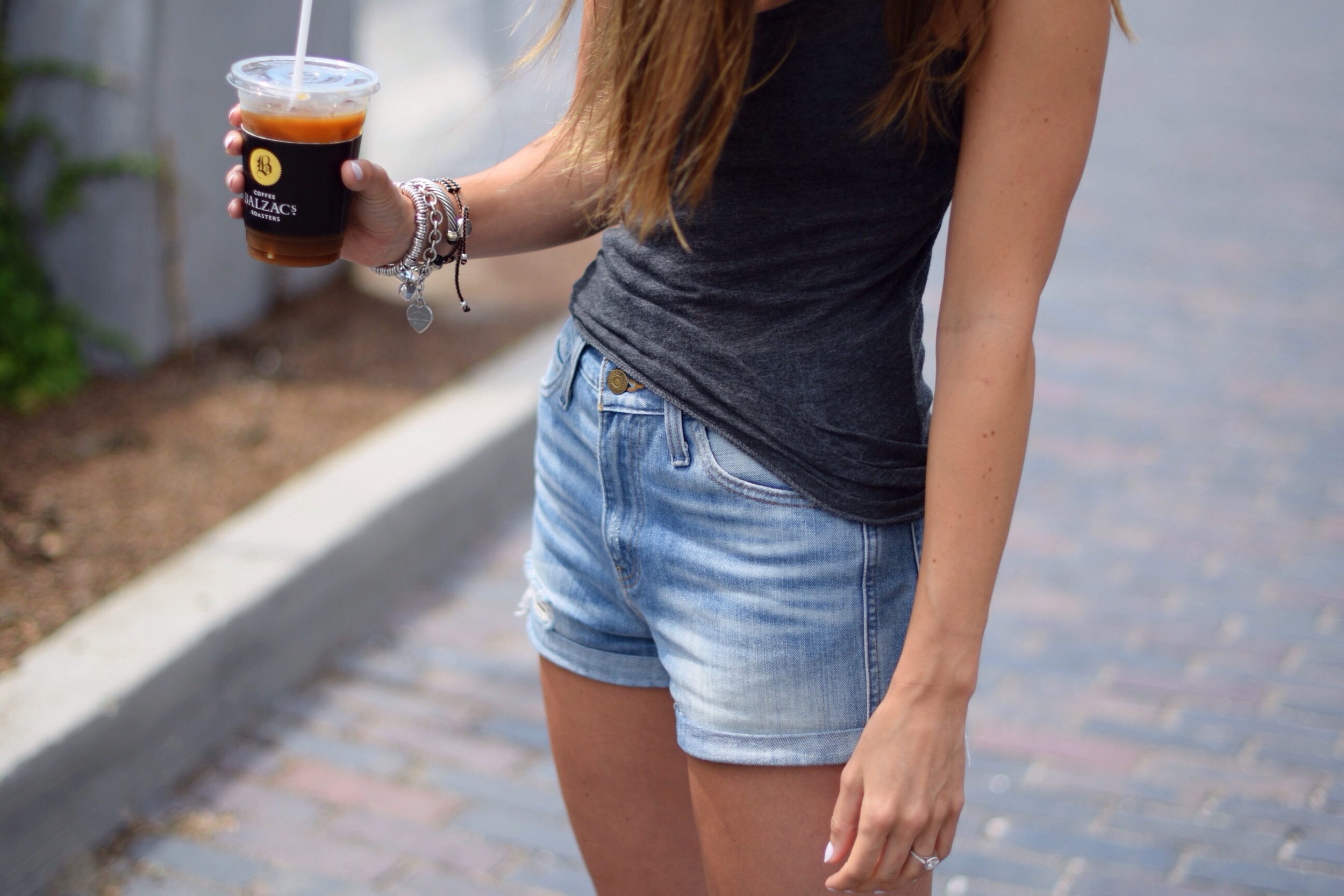 LEVI'S Shorts from Aritzia ,  Alternative Tank from North Standard,  Jeffrey Campbell Sandals from Capezio