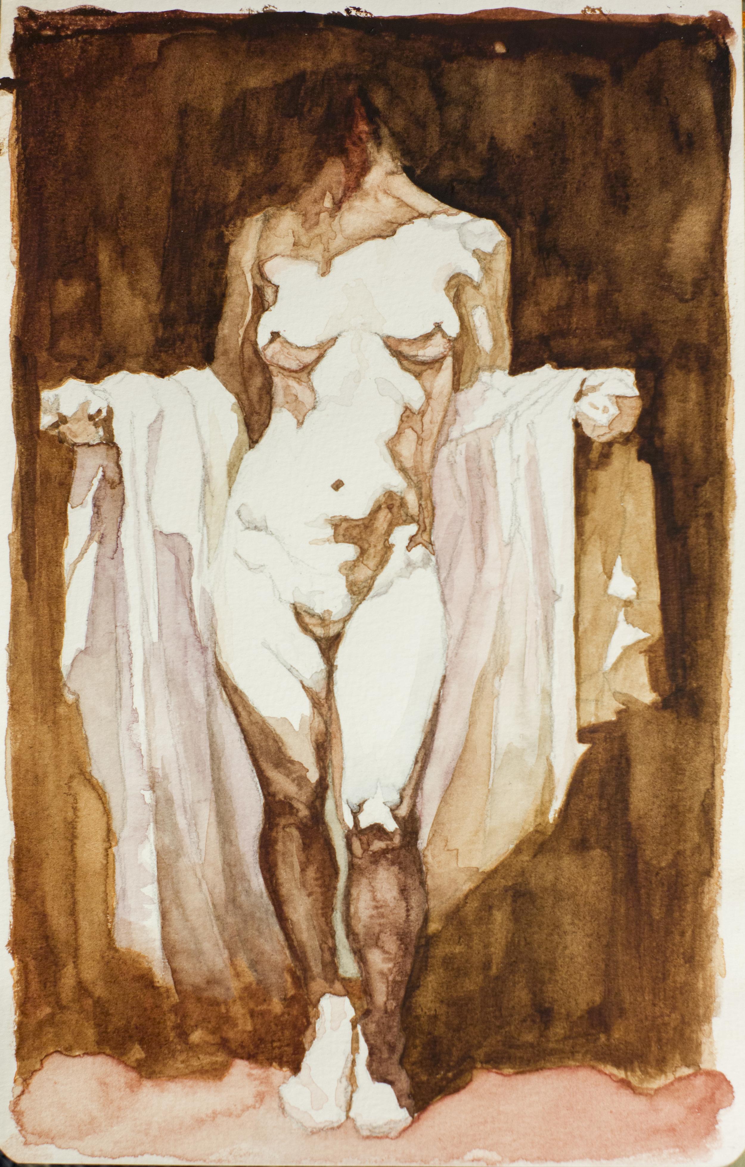 """""""Maledizione di venere""""- 5"""" x 8""""watercolor on paper, Roberto Ferri copy. 2013"""