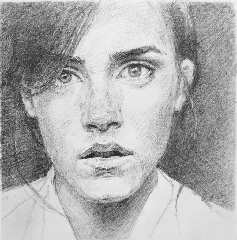 "(sold) ""Emma"" - 6"" x 6"" 2012, graphite on paper, from reference. 2012"