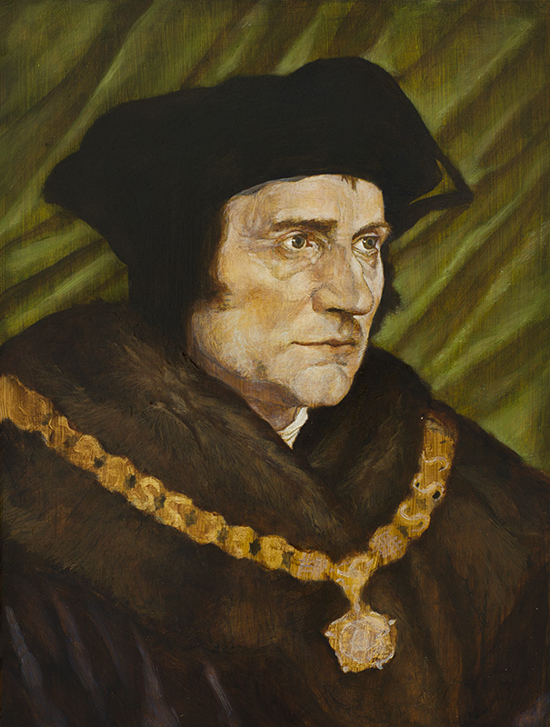 """Thomas More"" - 8.5"" x 11"" oil on board, Hans Holbein Copy. 2014"