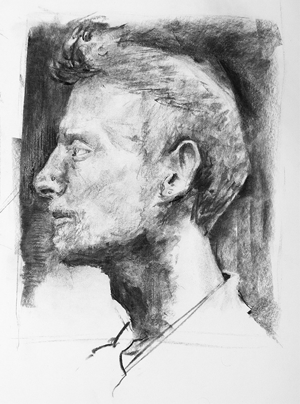 """""""Julian"""" - 11"""" x 17"""" charcoal on paper, from life. 2014"""