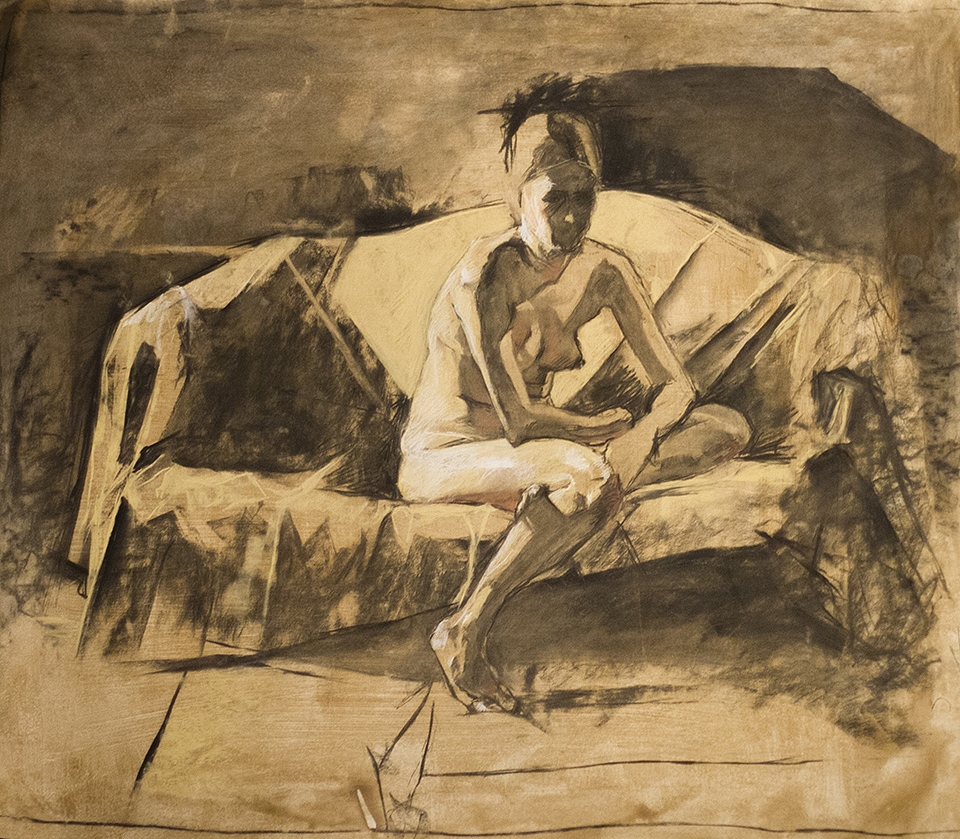 """Before the Couch Died"" 2.5' x 3' 2013, charcoal and chalk on paper, from life. 2013"