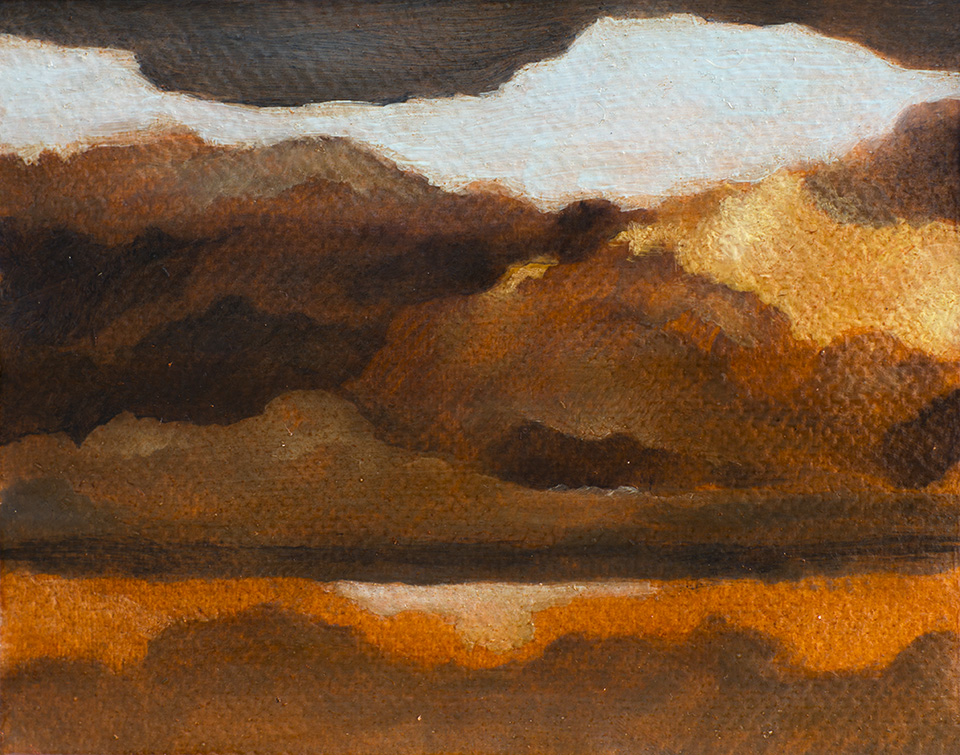 """Distant Storms"" - 4"" x 5"" oil on paper, created during a three-week painting intensive in Italy. 2014"