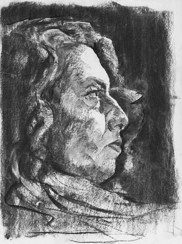 """Fifteen Minute Portrait"" - 9"" x 12"" charcoal on paper, from life"