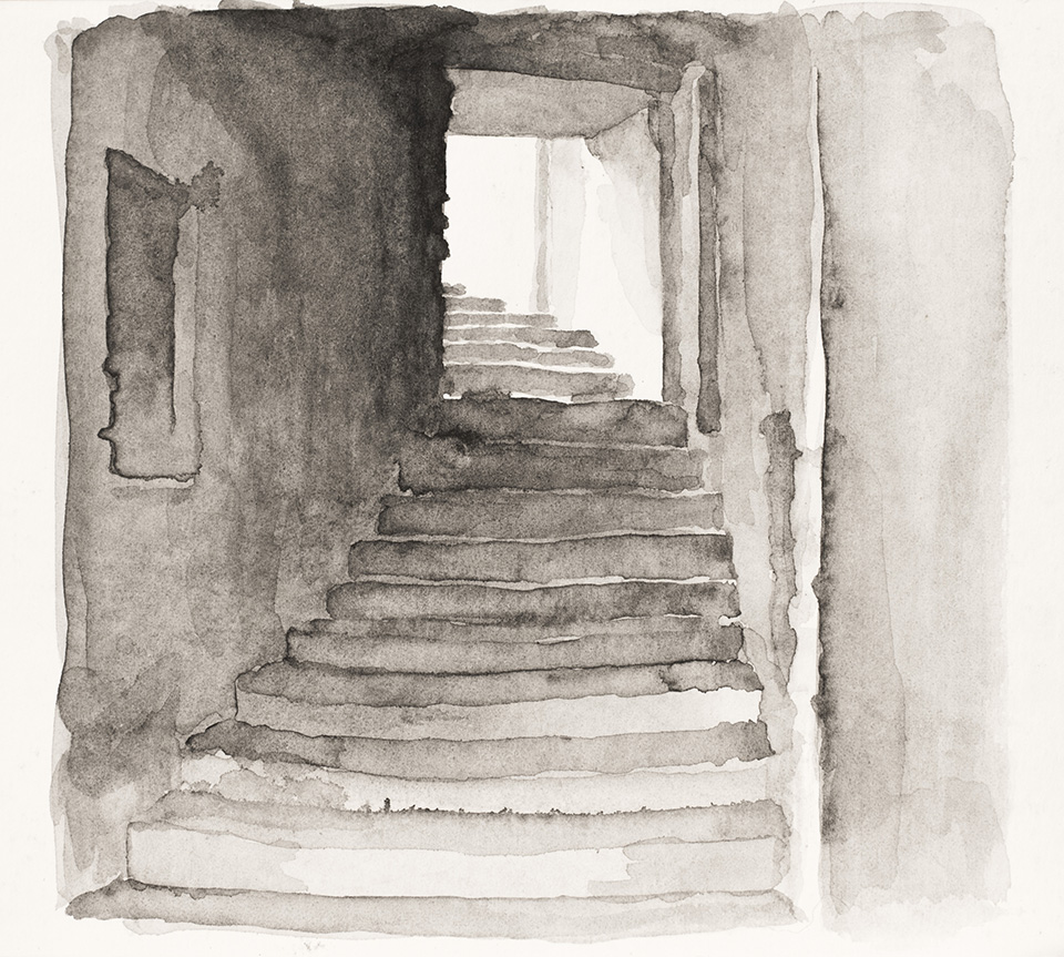 """""""A Strip of Bacon"""" 5"""" x 5"""" watercolor on paper, created from life on a three-week painting intensive in Italy. 2014. Streets that crossed the diameter of Montecastello's circular center were referred to as strips of bacon."""