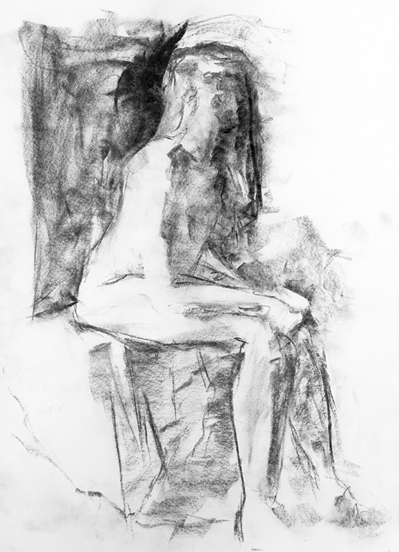 """""""Memory Fails Me"""" 11"""" x 17"""" charcoal on paper, from life. 2014"""