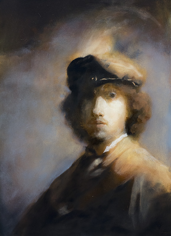 """Copy of ' Self-portrait with Plumed Beret,' Rembrant "" - 11"" x 17"" oil on primed paper, from reference. 2014"