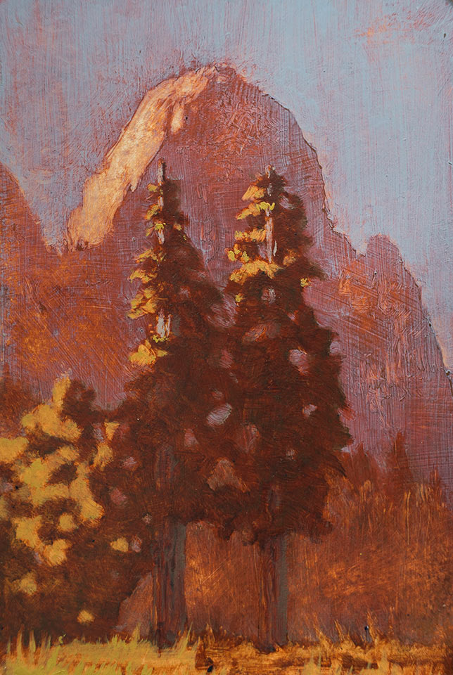 """Cathedral Rock as it Bleeds"" - 6"" x 4"" oil on primed paper. 2016. Created on a painting road trip across the US."