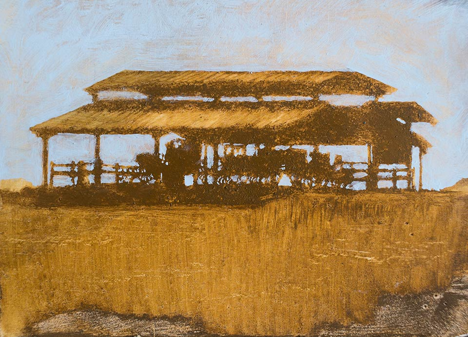 """""""Carriage Congregation"""" - 3"""" x 5"""" oil on primed paper. 2017. Created on a painting road trip across the US."""