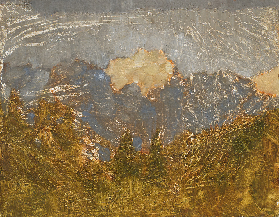 """""""Losing Vision, Dolomites"""" - 9"""" x 12"""" oil on primed paper. 2017. Created while hitchhiking for two months across eleven countries."""