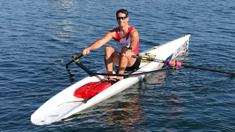 PHOTO: Samuel Lavoie in a single shell at 2018 World Rowing Coastal Championships (Victoria, B.C.). Kingston's first coastal rowing shells arrived at KRC last week.