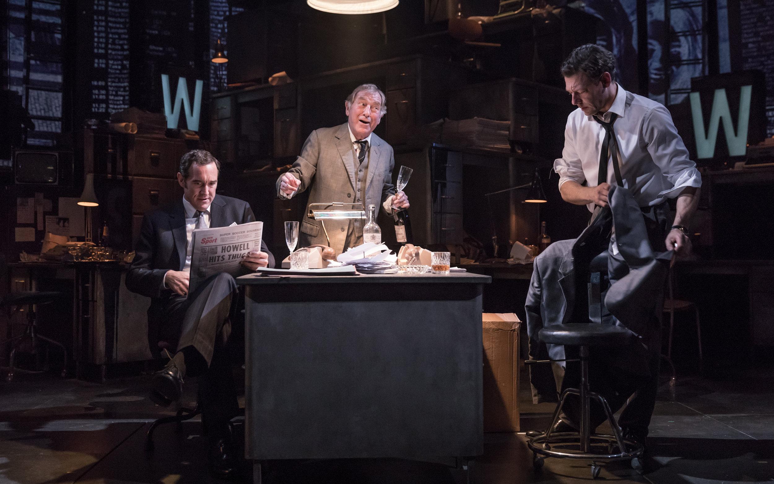 Bertie Carvel (Rupert Murdoch) Geoffrey Freshwater (Sir Alick McKay) Richard Coyle (Larry Lamb)cMarc Brenner.jpg