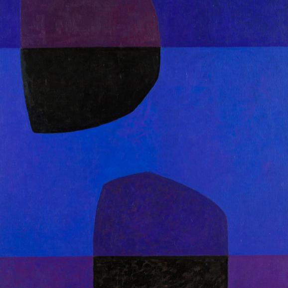"""Gunnar Tollefsen, utsnitt fra """"Blå speiling"""" akryl på lerret, 107x98cm"""
