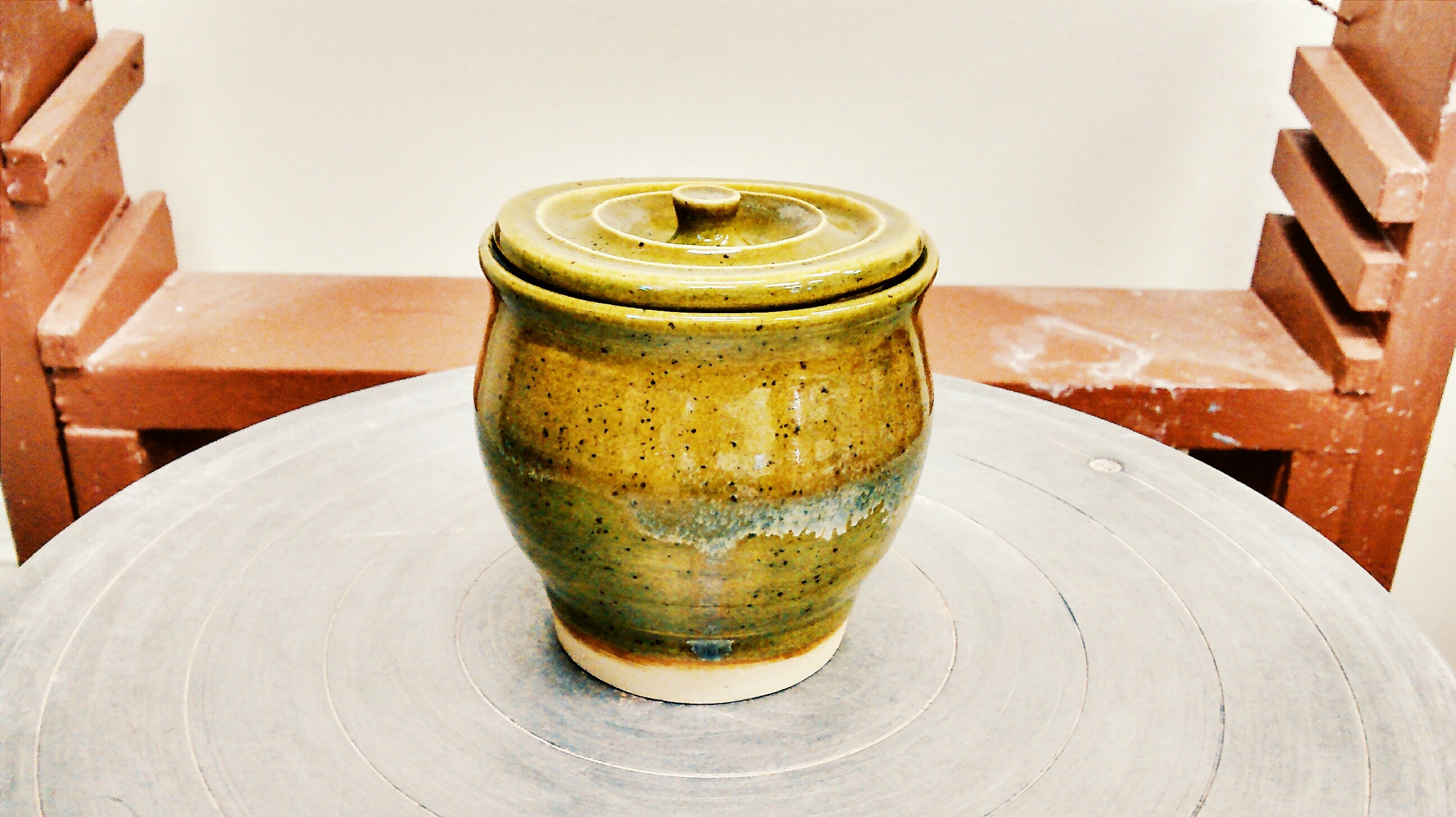 Ceramic Lidded Pot with Glaze