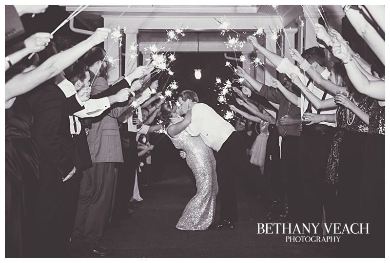 reception exit with sparklers