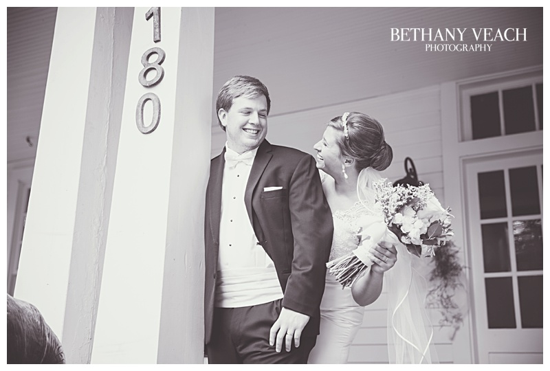 bride and groom laugh
