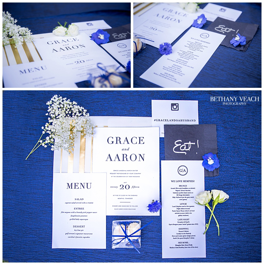 blue and gold stationery