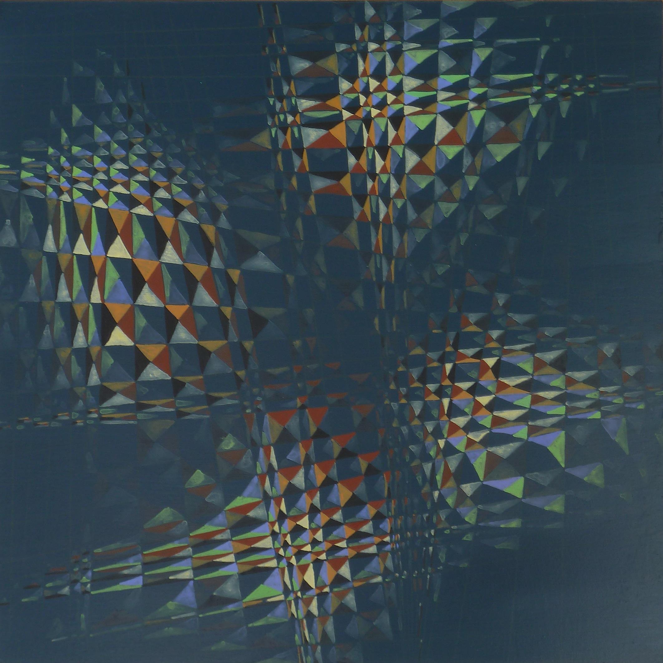Entangled labyrinths  (2015). Pencil, acrylic and gouache on board, each 30 x 30 cm