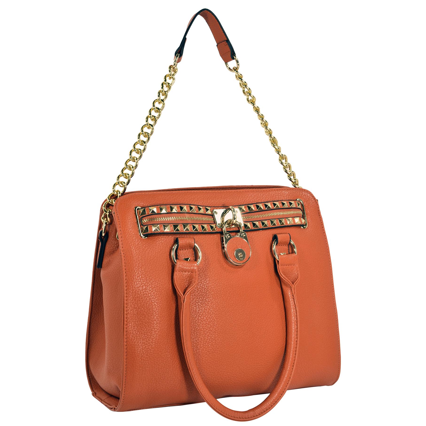 HALEY Orange Bowler Style Handbag handle